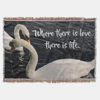 Two Swans on Lake Throw Blanket