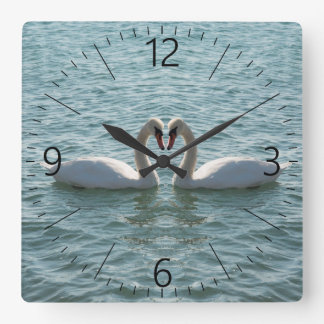 Two swans square wall clock