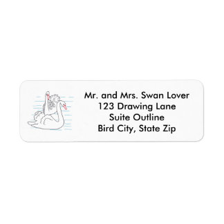 Two Swans Swimming Outline Address Labels