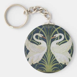 Two Swans Vintage Art Nouveau Keychain