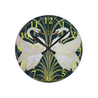 Two Swans Vintage Art Nouveau Round Clock