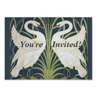 Two Swans Vintage Nouveau Birds Card