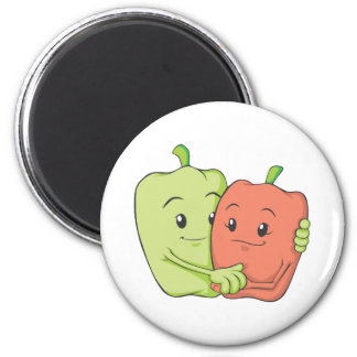 Two Sweet Bell Pepper Lovers Hugging Refrigerator Magnet