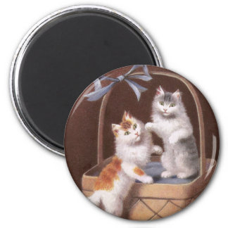 Two Tabby Cats in a Basket -- Vintage 1908 2 Inch Round Magnet