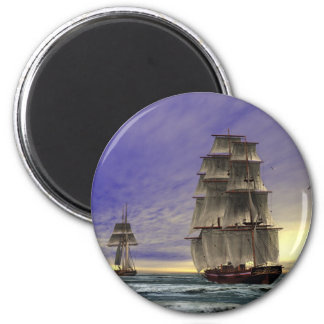 Two tall Ships 2 Inch Round Magnet