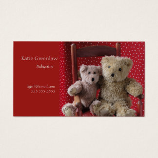 Two teddy bears in a red chair babysitter business card