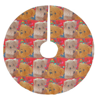 Two teddy bears with Christmas lights Brushed Polyester Tree Skirt