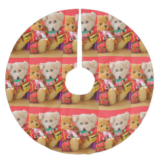 Two teddy bears with Christmas presents Brushed Polyester Tree Skirt