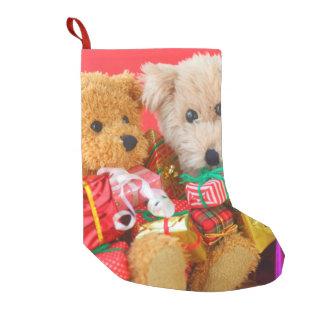 Two teddy bears with Christmas presents Small Christmas Stocking
