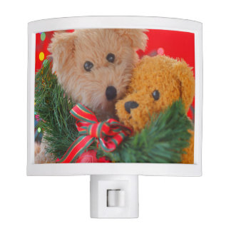 Two teddy bears with greenery and bow nite lights