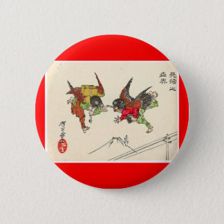 Two Tengu colliding. Mt. Fuji background, c. 1882 2 Inch Round Button