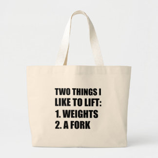 Two Things Lift Weights Fork Large Tote Bag