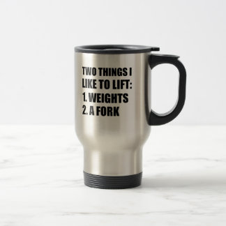 Two Things Lift Weights Fork Travel Mug