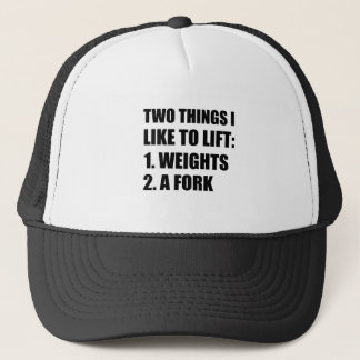 Two Things Lift Weights Fork Trucker Hat
