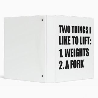 Two Things Lift Weights Fork Vinyl Binders