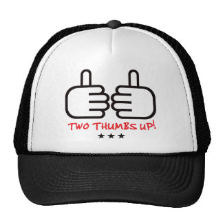 Two Thumbs Up - Black and Red Hats