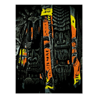 Two tiki statues sunrise tropical poster