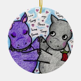 Two to Tango Hippos Round Ceramic Ornament