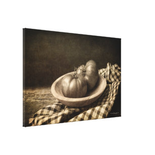 Two Tomatoes in a Bowl Vintage Sepia Canvas Print