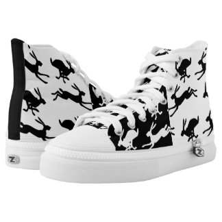 Two Tone Black and White Pagan Hare Rabbit Boots High Tops
