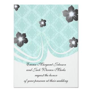"""two tone blue aqua diamond damask 4.25"""" x 5.5"""" invitation card"""