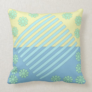 Two Tone Blue Bars in Middle Throw Pillow