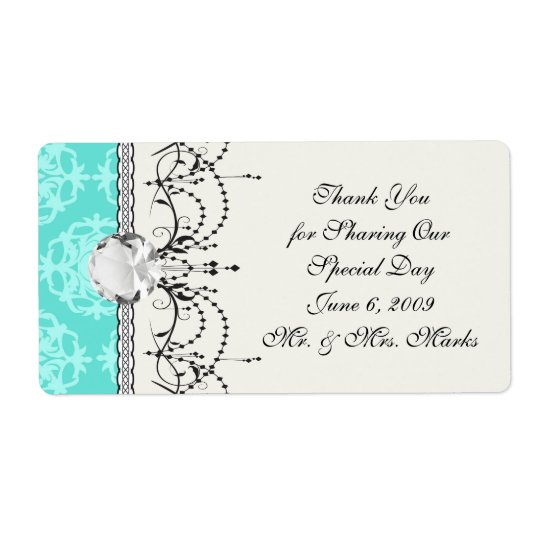 two tone blue damask shipping label