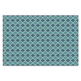 Two-Tone Blue Moroccan Lattice Tissue Paper