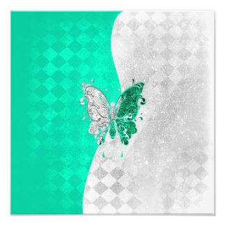 Two Tone Butterfly in White and Teal Photo Print
