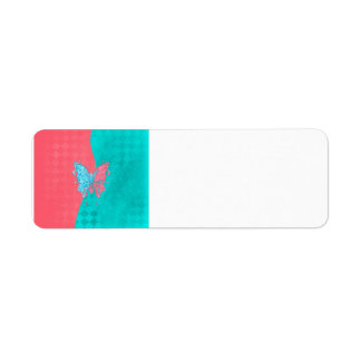 Two Tone Butterfly Pink and Teal Labels