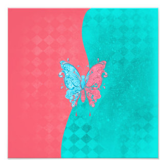 Two Tone Butterfly Pink and Teal Photo Art