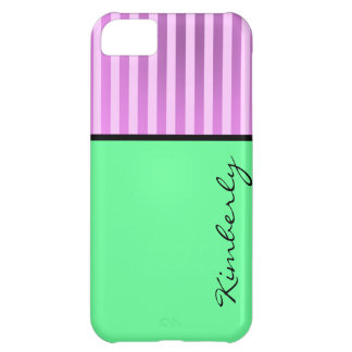 Two Tone Circus Striped Personalized Iphone Case