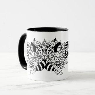 Two tone coffee mug with original Lotus design
