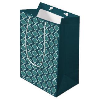 Two-Tone Dark Blue Moroccan Quatrefoil Gift Bag