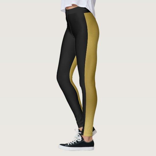 Two Tone Gold & Black Leggings