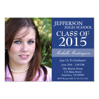 "Two-Tone Graduation Invitations (Navy Blue) 5"" X 7"" Invitation Card"