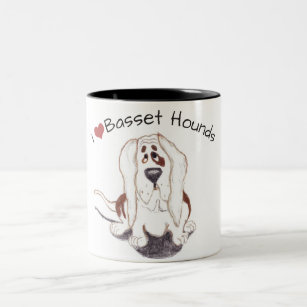 two tone I love basset hounds classic mug