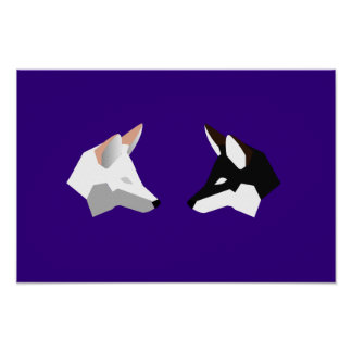 Two-Tone Minimalist Twin Foxes Poster