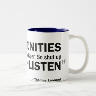 Two-tone mug - 'Opportunities don't knock...'