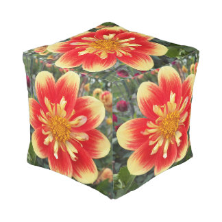 Two Tone Orange Dahlia Floral Pouf
