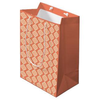 Two-Tone Orange Moroccan Quatrefoil Gift Bag