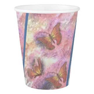 Two-Tone Pastel Monarchs Paper Cups Paper Cup