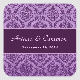 Two Tone Plum Purple Damask  Wedding V73 Square Sticker
