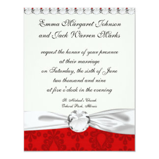 """two tone red damask 4.25"""" x 5.5"""" invitation card"""