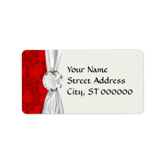 two tone red damask personalized address labels