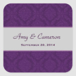 Two Tone Rich Purple Damask  Wedding V92 Square Sticker