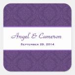 Two Tone Royal Purple Damask  Wedding V95 Square Sticker