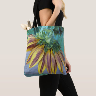 Two Tone Sunflower Head Floral Tote Bag