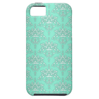 Two Tone Teal Girly Fancy Damask iPhone 5 Case