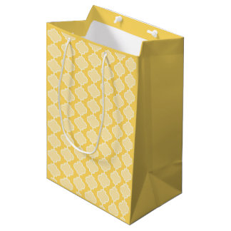 Two-Tone Yellow Moroccan Quatrefoil Gift Bag